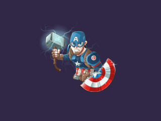 Captain America with Mjolnir and Shield Art wallpaper