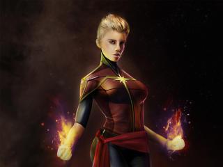 Captain Marvel Comic Art wallpaper