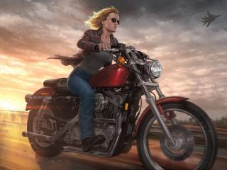 Captain Marvel On Bike wallpaper