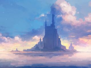 Castle In The Middle Of The Sea Art wallpaper
