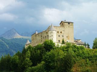 castle, mountains, trees wallpaper