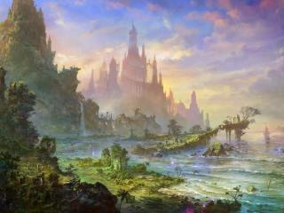 castle, rock, sea wallpaper