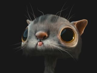 cat, face, 3d wallpaper