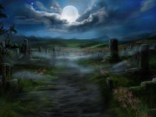 cemetery, tombstones, full moon wallpaper