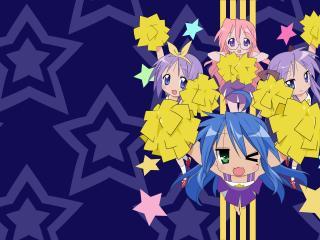 cheerleader hiiragi kagami hiiragi, tsukasa izumi konata, lucky star wallpaper