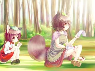 chen, futatsuiwa mamizou, girls wallpaper