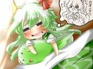 chibi, anime, green hair wallpaper