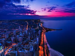 Chicago City View at Sunset wallpaper