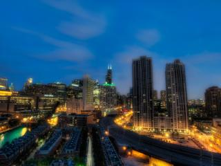 chicago, illinois,  night wallpaper