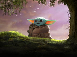 Child Yoda 4K wallpaper