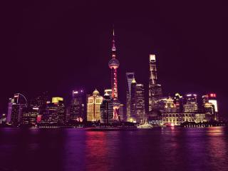 HD Wallpaper | Background Image China Shanghai Neon City Lights
