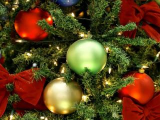 christmas decorations, balloons, christmas tree wallpaper