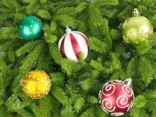HD Wallpaper | Background Image christmas tree, christmas decorations, balloons