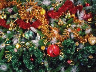 christmas tree, christmas decorations, tinsel wallpaper