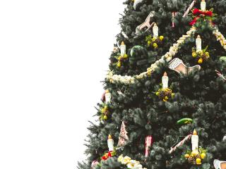 christmas tree, ornaments, candles wallpaper