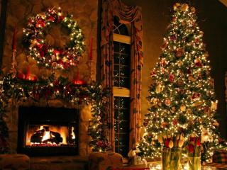 christmas tree, ornaments, fireplace wallpaper