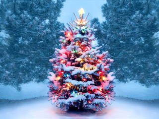 Christmas Tree With Snow And Lights Decoration wallpaper