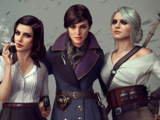 Ciri Elizabeth and Emily Kaldwin Crossover wallpaper