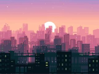 City Building Sunshine Pixel Art wallpaper