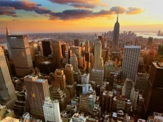 city, buildings, sunset wallpaper