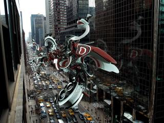 city, figure, flight wallpaper