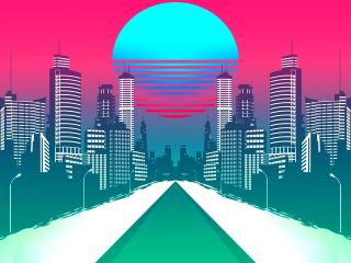 City Retrowave Synthwave Art wallpaper