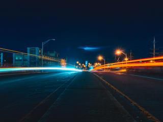 city, road, evening wallpaper