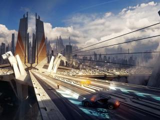 city, skyscrapers, bridge wallpaper