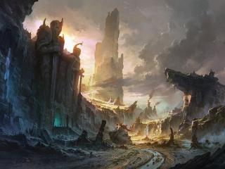 cliffs, destruction, city wallpaper