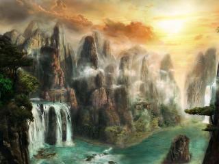 cliffs, waterfalls, mist wallpaper