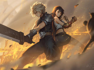 Cloud Strife and Tifa Lockhart 4K Final Fantasy wallpaper