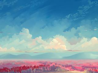 Cloudy Field Paint wallpaper