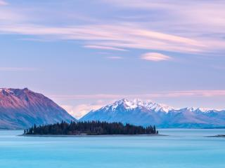 Cloudy Mountains in Lake Tekapo New Zealand wallpaper