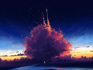 Cloudy Rocket Cool Art wallpaper