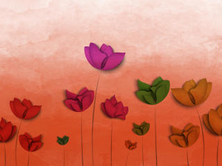 Colorful Flowers Digital Art wallpaper