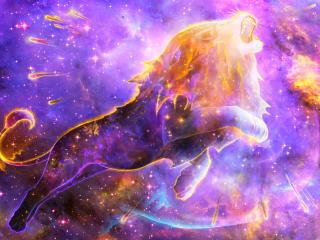 Colorful Lion Spirit In Space Nebula wallpaper
