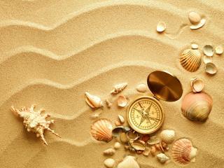 compass, shells, sand wallpaper