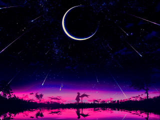 Cool Anime Starry Night Illustration wallpaper