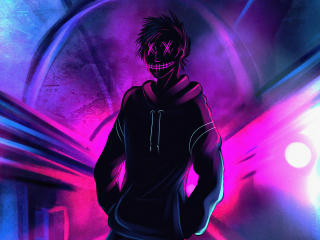 Cool Anonymous Neon Boy wallpaper