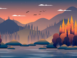 Cool Landscape Night Minimal Art wallpaper