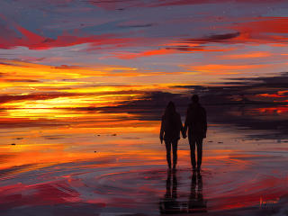Couple at Sunset Illustration wallpaper