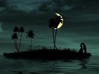 couple, moon, island wallpaper