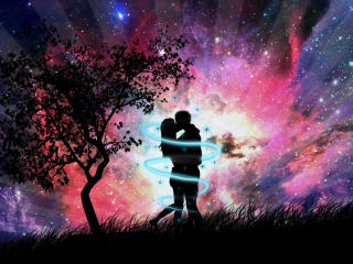 Couple Near Tree With Glittering Background wallpaper
