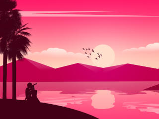 Couple Seeing Sunset wallpaper