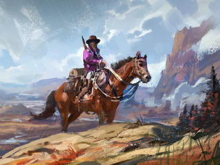 Cowboy Painting wallpaper