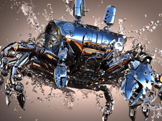 crab, shiny, metal wallpaper