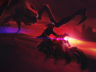 Creepy Creature  Chasing Biker wallpaper