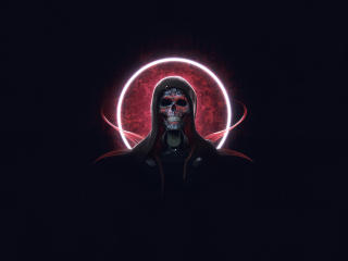 Creepy  Cyborg  Skull wallpaper