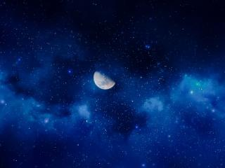 Crescent Moon Milkey Way wallpaper