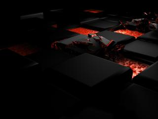 cube, fire, dark wallpaper